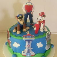 Paw Patrol Cake Paw Patrol cake I made for grandchild using gum paste/tylose for figures on top