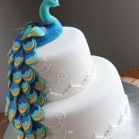 Peacock Bridal Shower Cake Made this week for a family wedding shower...