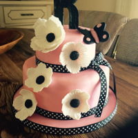 Pink/black Birthday Cake With Gumpaste Flowers Birthday cake I made for daughter ...just wanted it simple and pretty