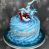 Pokemon Cake Pokemon themed birthday cake with an Ice Arceus. Tried to create something like an ice-water whirlpool (with whipping cream). The Pokemon...