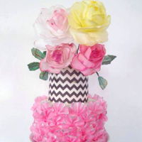 Pretty Pink Wafer Paper flowers and ruffles