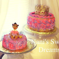 Princess 1St Birthday Pink and Purple swirl buttercream rossettes with gold beads. Baby's 1st Birthday.