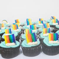 Rainbow Cupcakes chocolate cupcakes decorated in BC, topper made of gum paste and hand painted