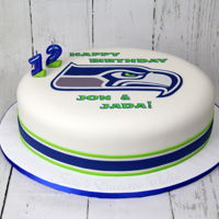 Seahawks Cake Birthday cake for Seahawks fans. Handmade fondant cut out. Julia's Exclusive Cakes https://www.facebook.com/JuliasExclusiveCakes