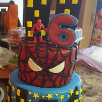 Spiderman Cake Vanilla cake with Swiss Meringue Buttercream and Fondant Decor and details.