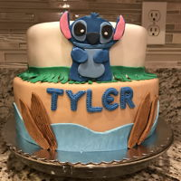 Stitch Cake Two tier fondant covered cake. Lilo and Stitch