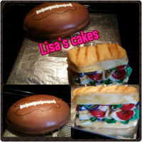 Superbowl Themed Cakes Football and Sandwich cake. All edible.