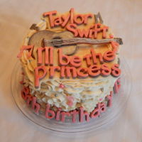 Taylor Swift Lilly's Taylor Swift cake! A 6 inch cake with buttercream ruffles and candy clay decorations! All edible and no fondant!!