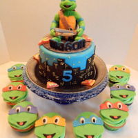 Teenage Mutant Ninja Turtles Mason's Teenage Mutant Ninja Turtles cake and cupcakes! A 6 inch cake with Leonardo hanging out on top, with pizza of course, and 2...