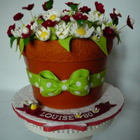 Terracota Flowerpot I made this flowerpot for Louise. This is marble cake with raspberry buttercream filling and chocolate ganache frosting covered with...