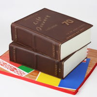 The Life Journey Book Cake. Two- tiered book cake for the 70th birthday.