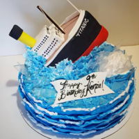 Titanic Themed Cake A Titanic themed cake for a 9 yr old girl who loves the movie! Titanic is made out of styrofoam and covered in fondant. Buttercream...