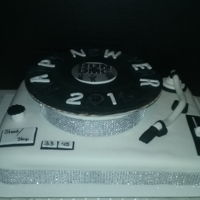 Turntable Cake 12x12 Square cake covered in fondant and shaped into a turntable for a New Years Eve party