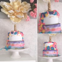 Unicorn Watercolor Cake 2 levels8¨ Strawberry lime cake6¨Nutella chocolate cakeFondant, buttercream