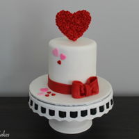 "Valentine's Day Cake A miniature 4"" Valentine's Day cake I made for a client! I got freeedom of creativity, so this is what I came up with!"