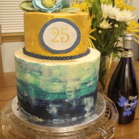 Watercolor 25Th Birthday Watercolor and gold mocha cake with espresso buttercream filling and Swiss meringue frosting. 25th birthday cake in blue and teal with...