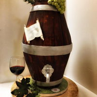 Wine Barrel Cake Time for a glass of wine...Fondant, hand painting, gum paste grapes leaves .