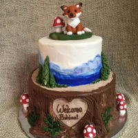 Woodland Animal Baby Shower Cake woodland animal baby shower cake