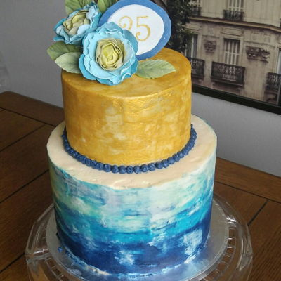 25Th Birthday Watercolor Watercolor and gold layered cake. Mocha cake with espresso buttercream filling and swiss meringue frosting. Blue, teal and gold colors with...