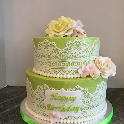 80Th Lace On Buttercream