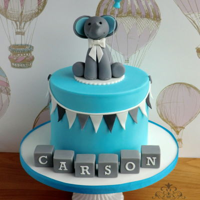 Blue And Grey First Birthday Cake on Cake Central