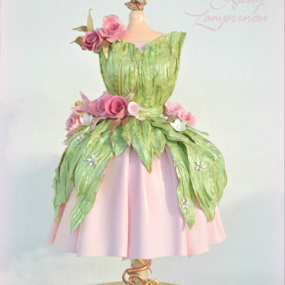 Fairy Dress Cake gravity defying cake - wafer paper details