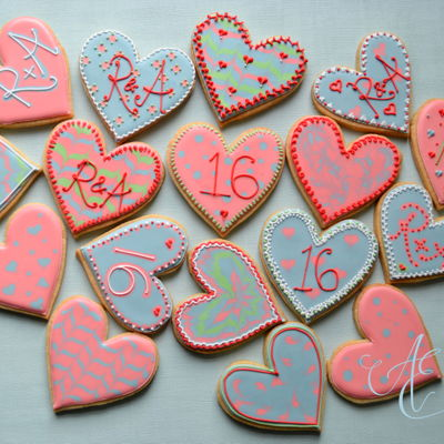 Hearts Royal iced anniversary cookies