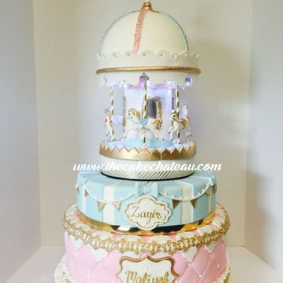 Musical, Spinning And Lighted Vintage Carousel Cake