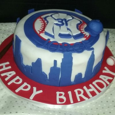 Ny Yankees Cake 10 inch vanilla flavored cake with chocolate buttercream with all handmade decorations