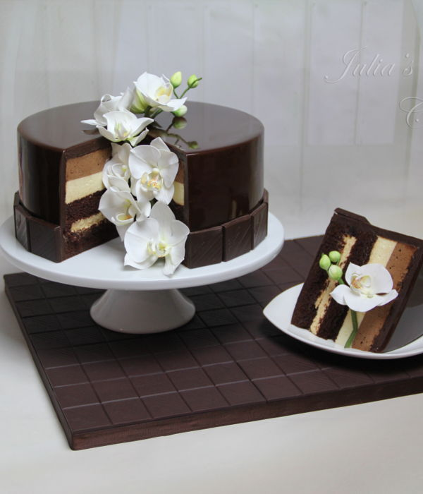 Chocolate Mirror Glaze Cake With Sugar Orchids