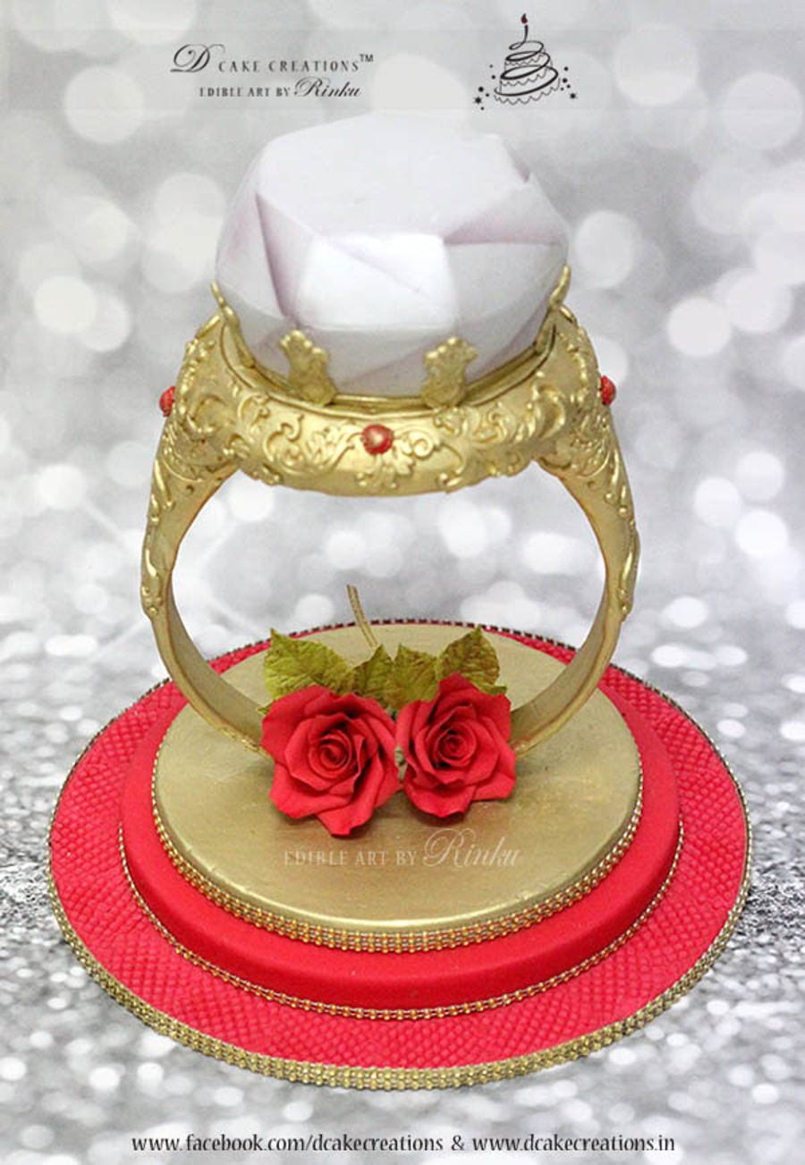 3d Gold Diamond Ring Cake Cakecentral Com