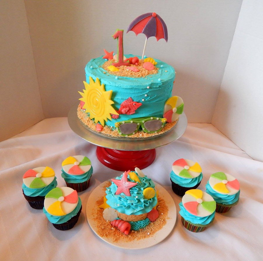 Beach Themed First Birthday Cake And Cupcakes Cakecentral