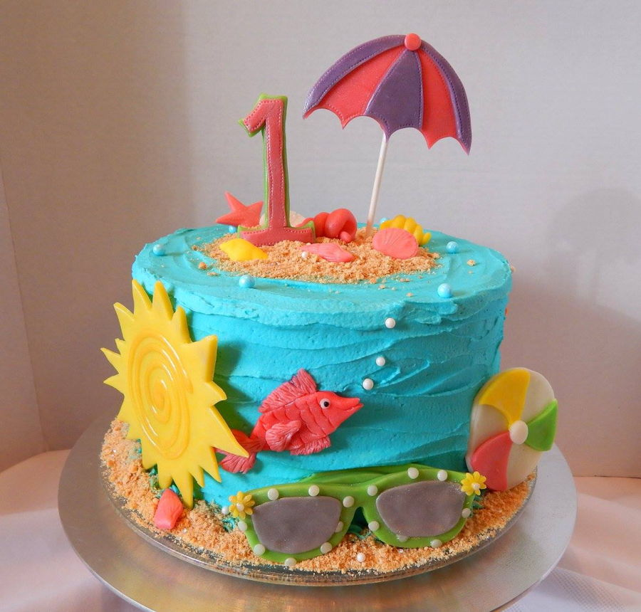 Beach Themed First Birthday Cake And Cupcakes