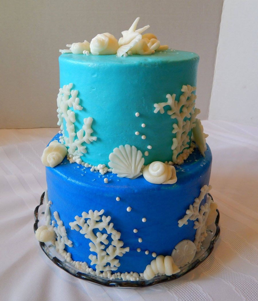 Edible Beach Themed Cake Decorations: Beach Themed Wedding Cake
