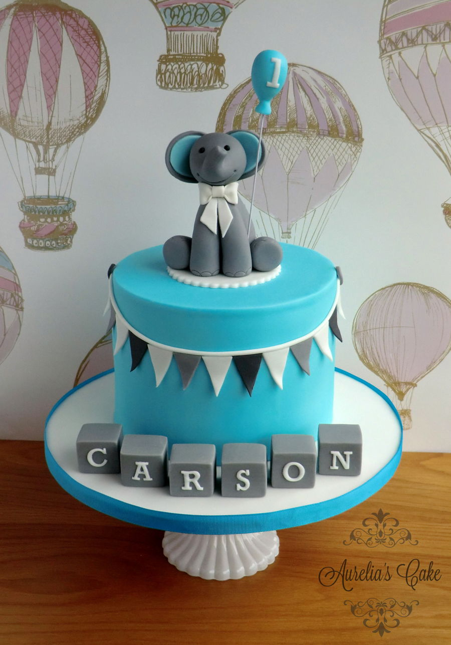 Blue And Grey First Birthday Cake Cakecentral Com