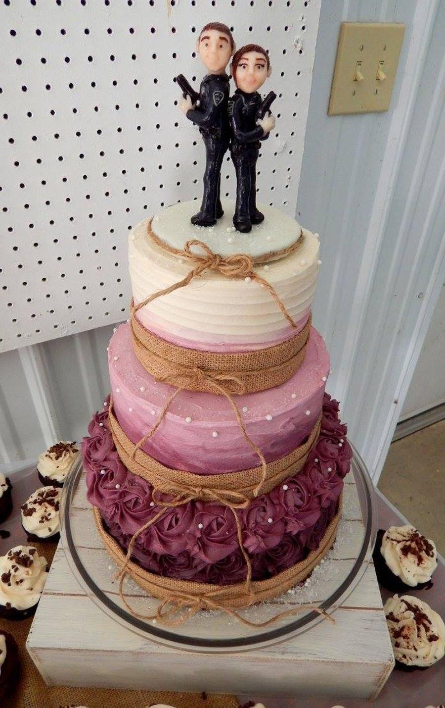 Burgundy Ombre Rustic Wedding Cake Cakecentral Com