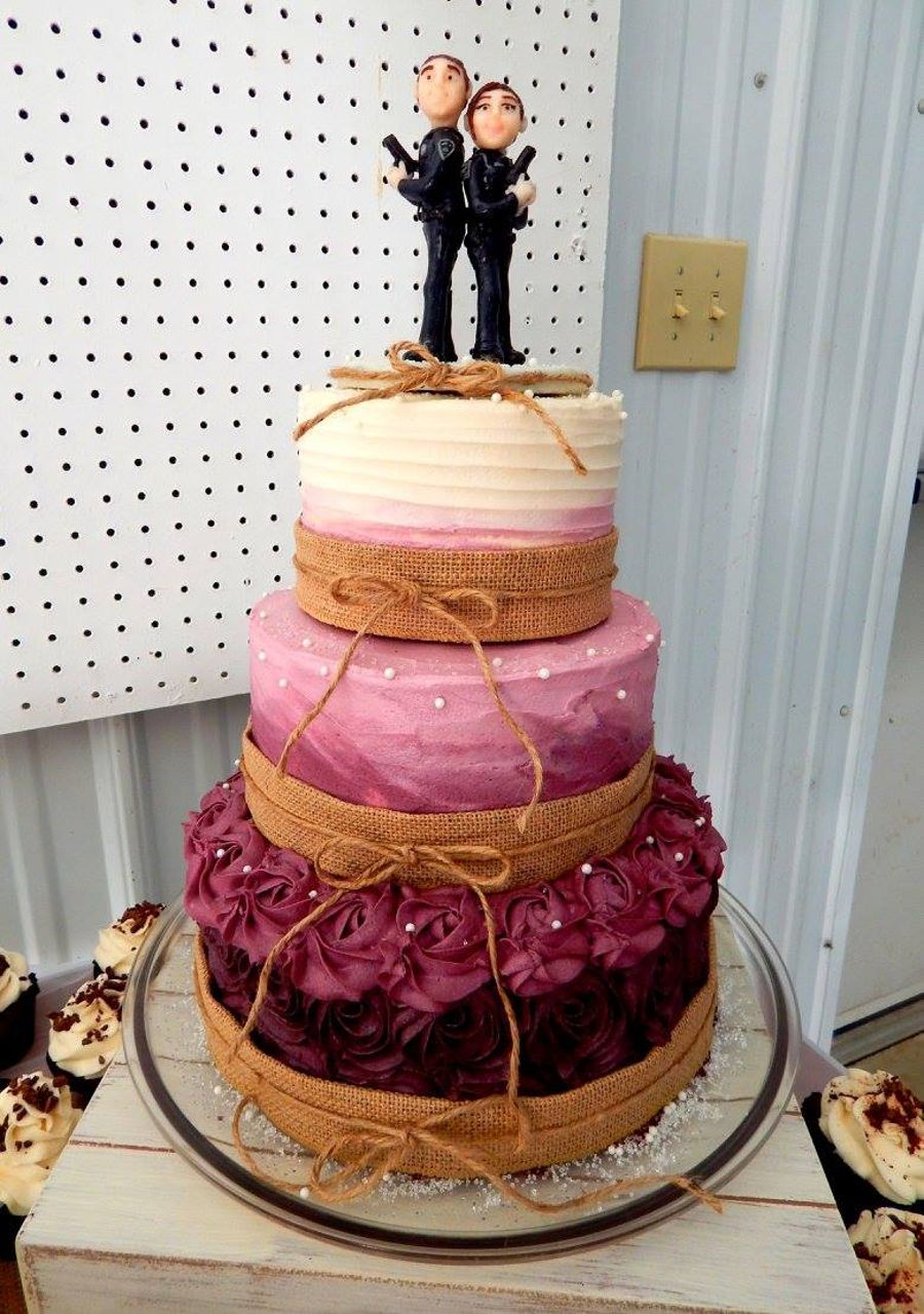 burgundy wedding cakes burgundy ombre rustic wedding cake cakecentral 12246