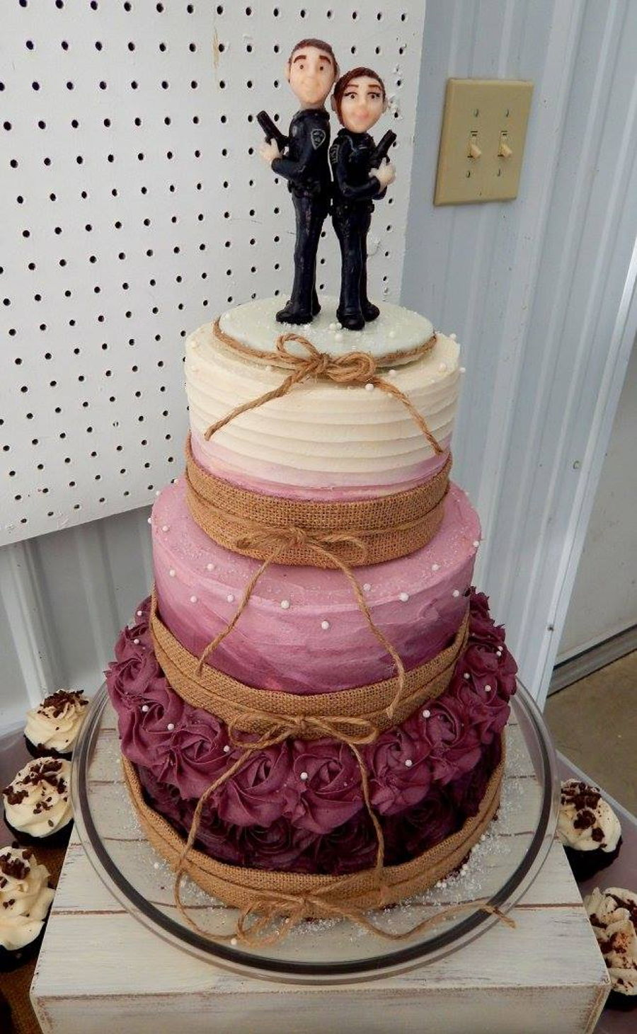 Burgundy Ombre Rustic Wedding Cake Cakecentral Com