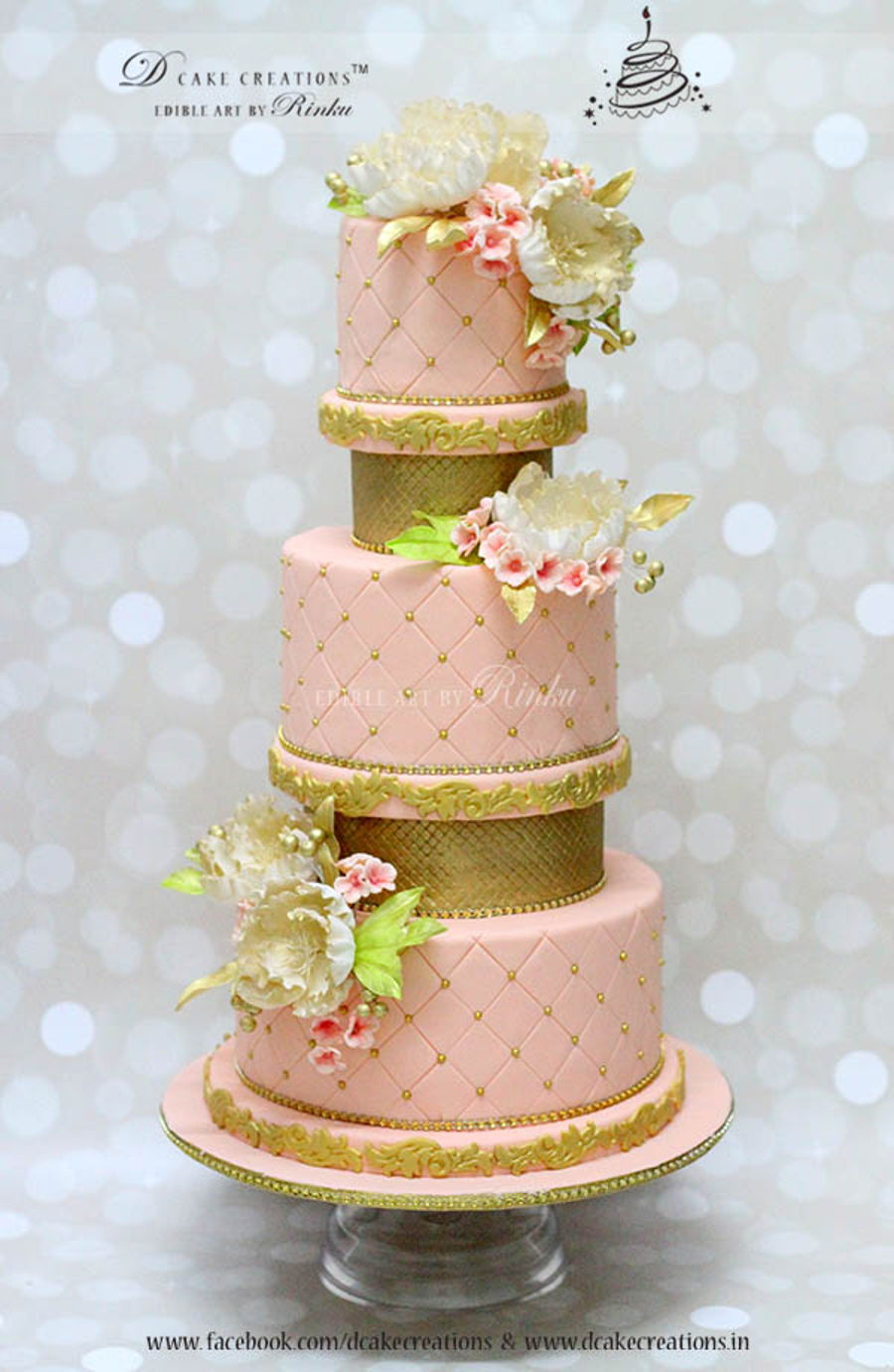 Five Tier Pink And Gold Wedding Cake - CakeCentral.com