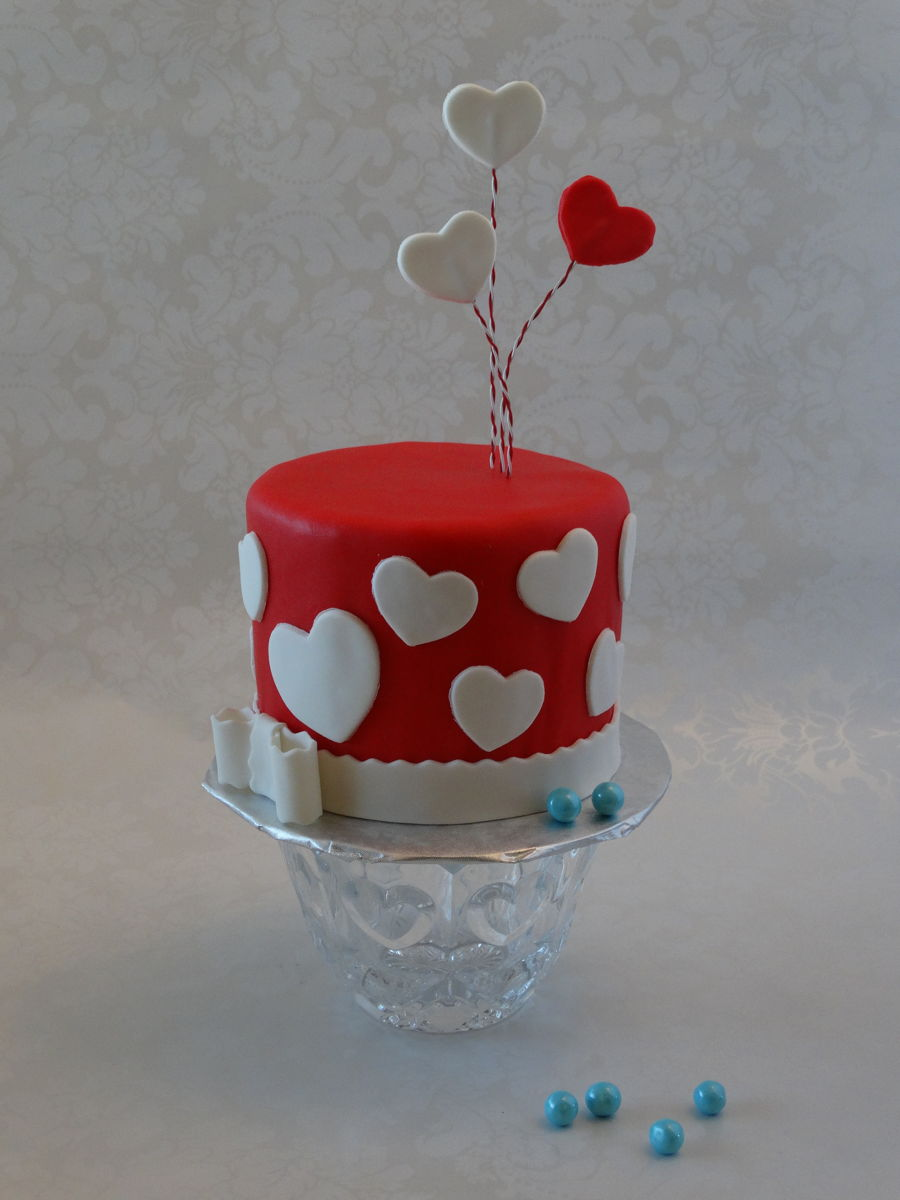 Mini Valentine Gender Reveal Cake on Cake Central