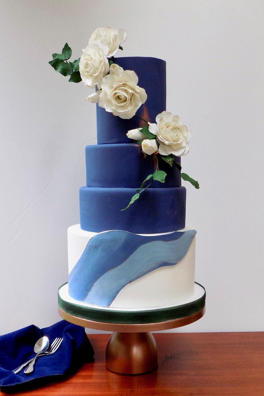 Navy Blue Wedding Cake - CakeCentral.com