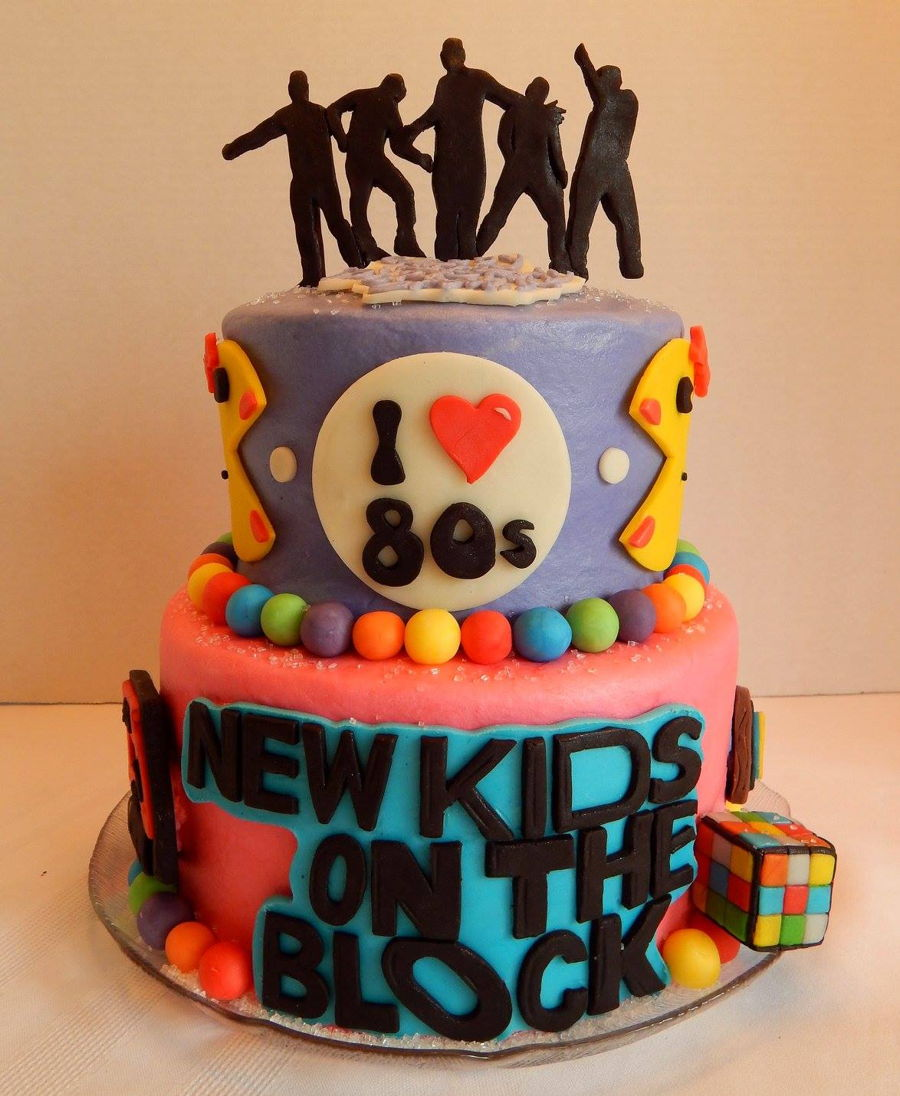 New Kids On The Block 80s Themed Birthday Cake