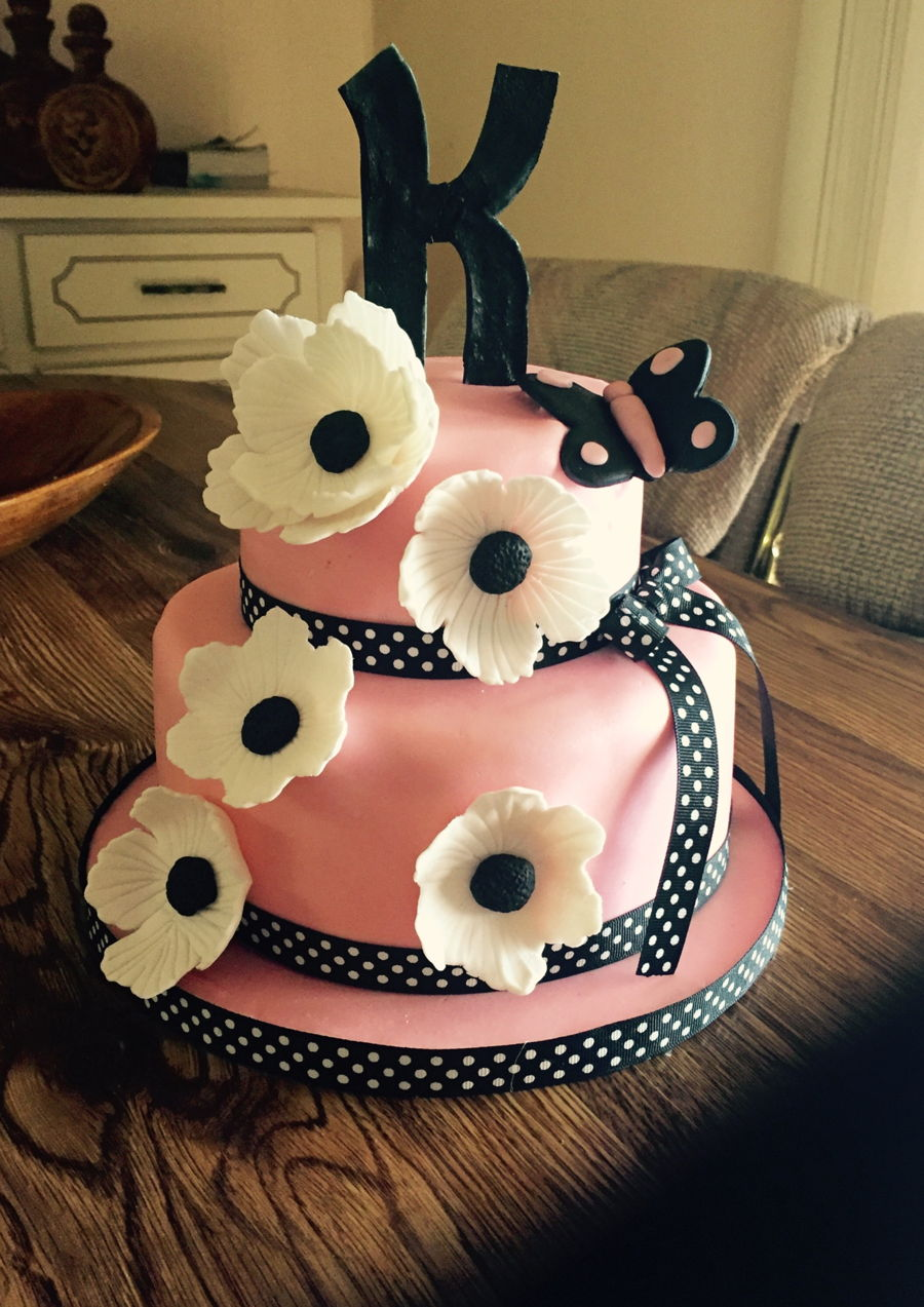 Pinkblack Birthday Cake With Gumpaste Flowers CakeCentralcom