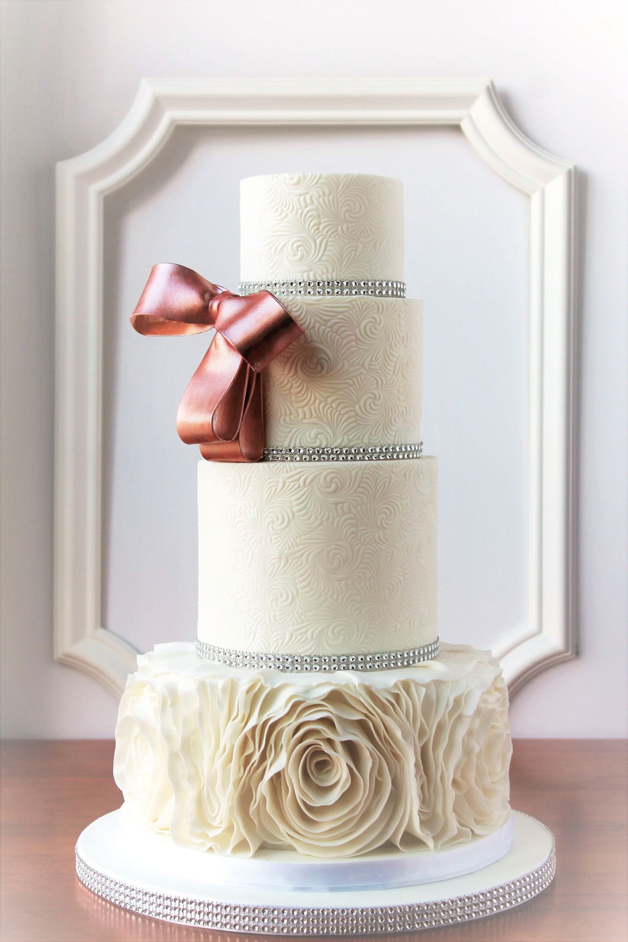 Rose Gold Bow And White Ruffles on Cake Central
