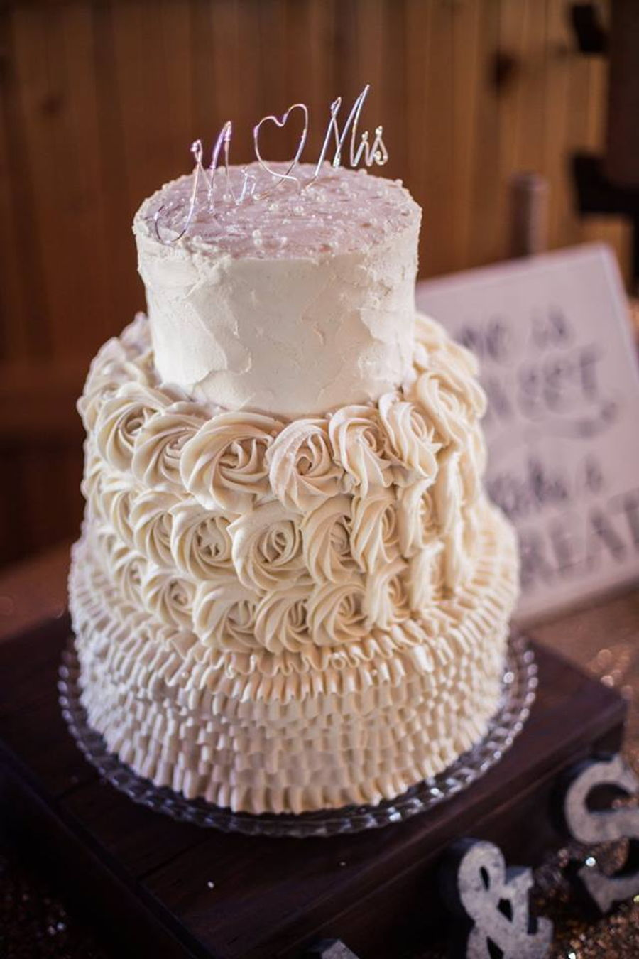 Rustic Ruffle And Rosettes Wedding Cake Cakecentral Com