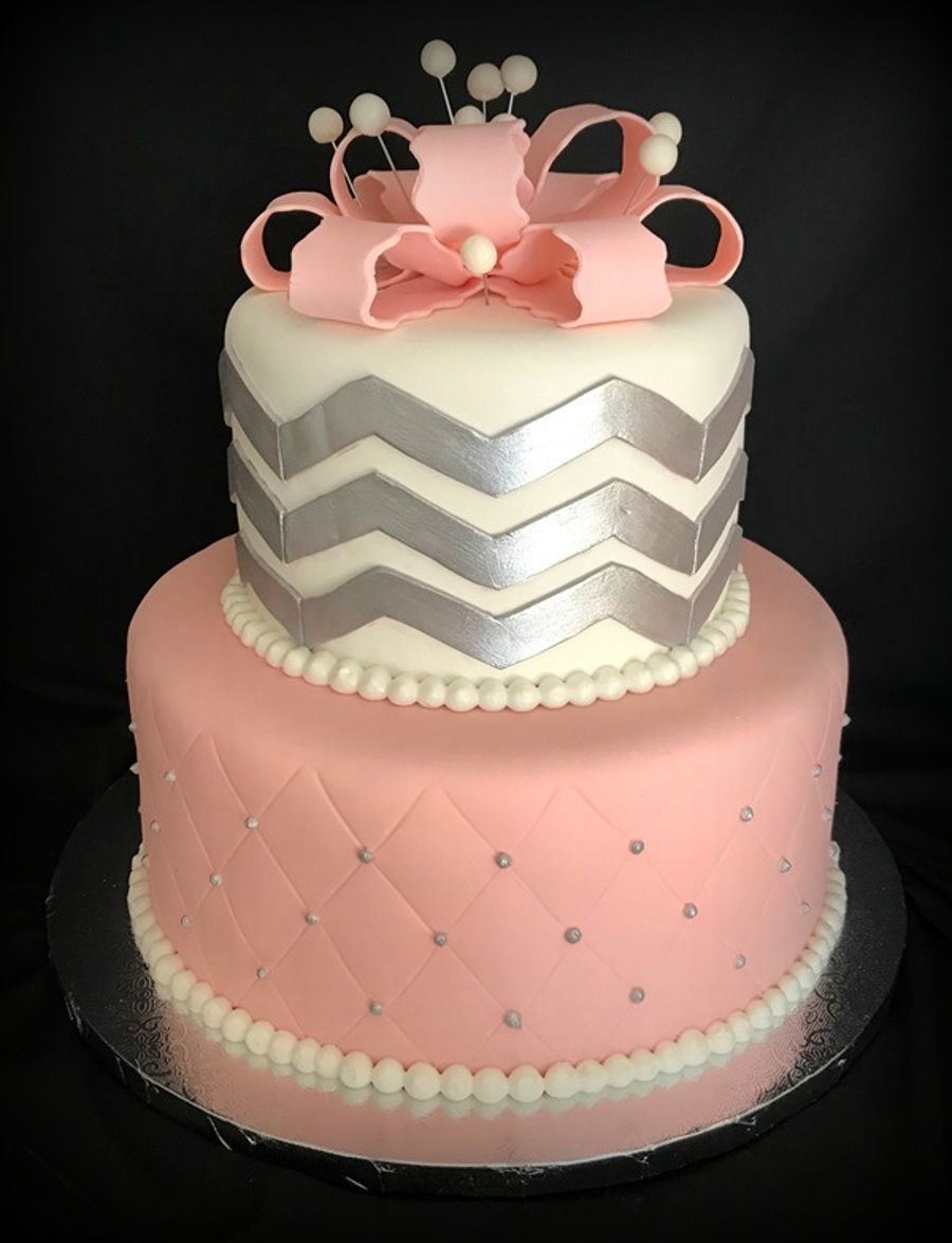 Silver And Pink Baby Shower Cake Cakecentral Com