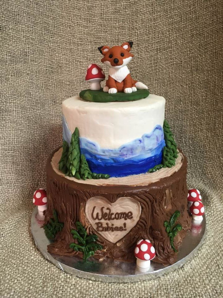 woodland baby shower cake woodland animal baby shower cake cakecentral 1495