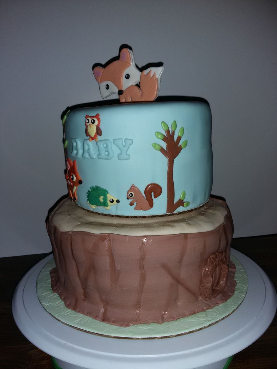 woodlands baby shower cake6 inch vanilla cake with strawberry filling