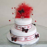 21St Birthday Cake two tier red and white feather and butterflies toper