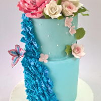 Aquamarine And Flowers This cake was made afor a teenager fond of swimming and very romantic . I made a ruffle effect at one side and a big peony and roses on top...